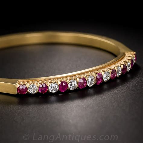 vintage 18k ruby and bangle bracelet