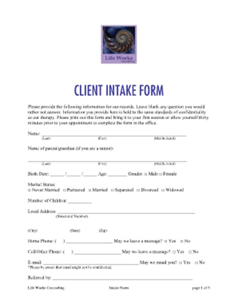 counseling intake form template request for exle information technology