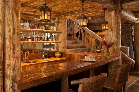 Rustic Bar Top Ideas by Rustic Bar Ideas Home Bar Rustic With Bar Log Railing
