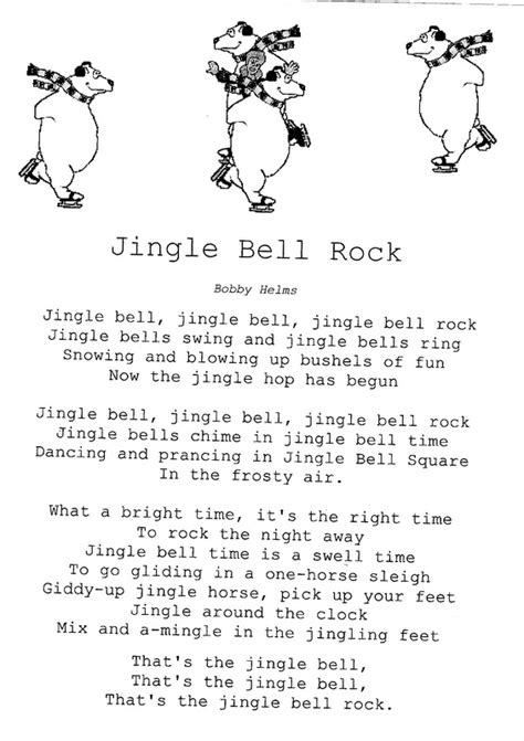 printable lyrics jingle bell rock elementary school enrichment activities christmas song sheets