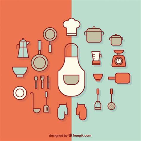 Kitchen Accessories Vector Free Flat Kitchen Utensils Vector Free