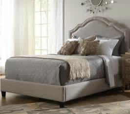 Bed Fabric Headboard Shaped Nailhead Fabric Upholstered Bed In Taupe Humble Abode