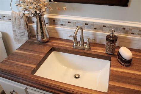 small bathroom  walnut wood countertop www