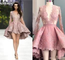 Cocktail Party Problem - high low blush pink short cocktail dresses sheer long sleeves prom party gown lace applique