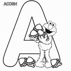 abc letter a acron sesame elmo coloring page