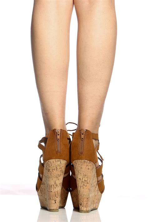 Booth Wedges cognac faux suede cut out lace up cork wedges cicihot