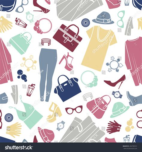 seamless pattern with shopping icons fashion shopping icons vector background seamless stock