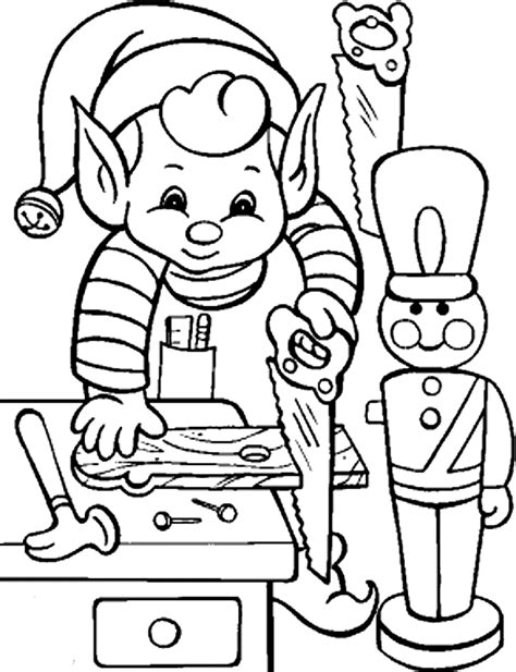 free christmas elves coloring pages