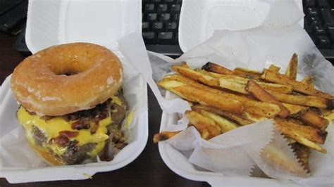 doughnut burger with truffle parmesan fries picture of