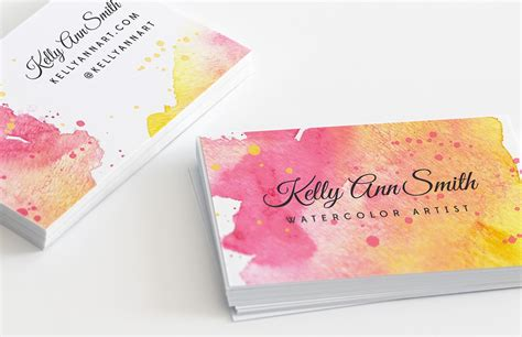 Free Business Card Templates Artwork by Watercolor Artist Business Card Template Medialoot