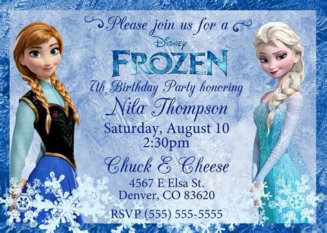 printable frozen birthday party invitations frozen birthday invitations kustom kreations