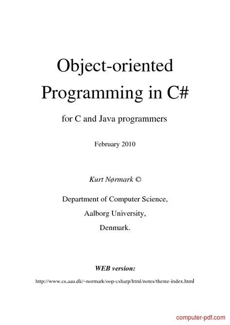 [PDF] OOP in C# language free tutorial for Beginners