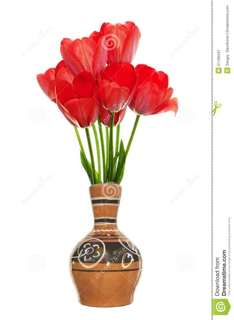 fresh tulips in vintage decorative vase stock photo