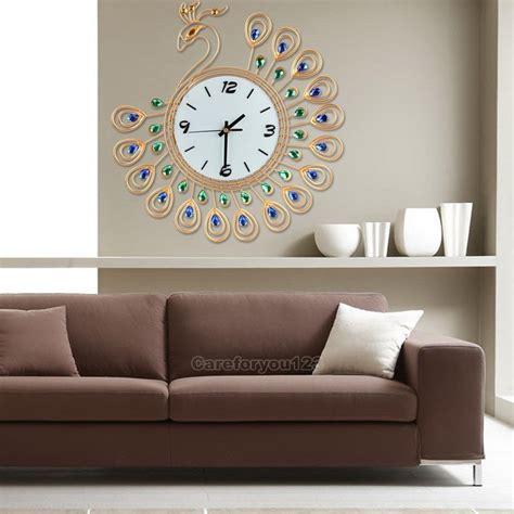 wall clocks for living room luxury diamond peacock large wall clocks metal living room