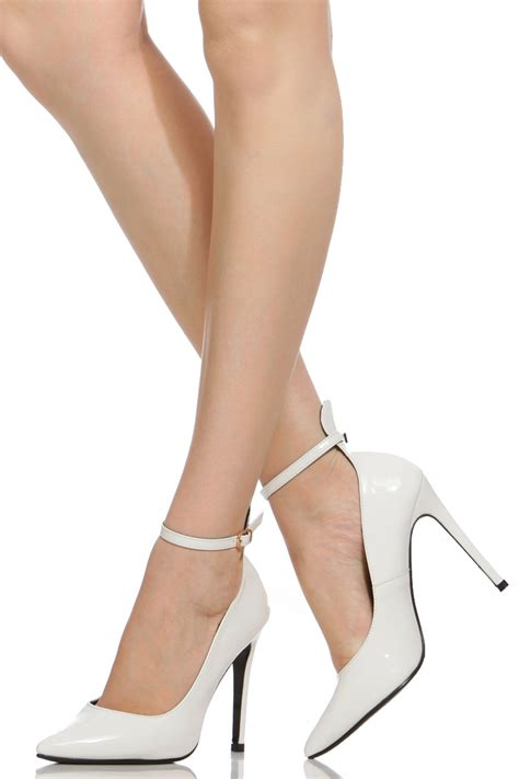 Pointy Pumps With Ankle white faux patent leather ankle pointy pumps