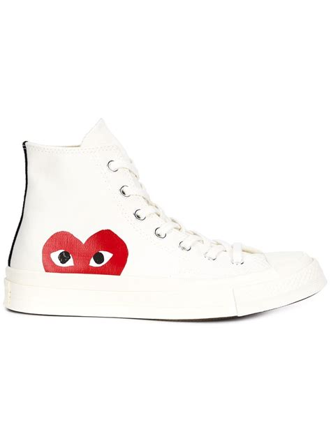 Comme Des Garcons Cdg Play White In Iphone Dan Semua Hp play comme des gar 231 ons hi top trainers in white lyst