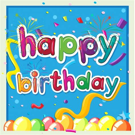 Free Vector Birthday Card Template by Happy Birthday Card Template With Balloons In Background
