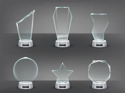 collection vector illustration of modern glass trophies
