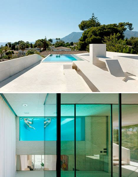 garden swimming pool custom dream homes stony wall jellyfish property cantilevered rooftop pool with glass