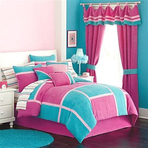 turquoise and pink girl bedroom pink ruffled curtain and turquoise accent wall for modern