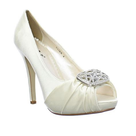 Womens Ivory Wedding Shoes by Womens Chagne Ivory Satin Diamante Peep Toe Wedding