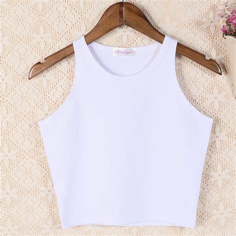 White Tropical Color S M L Top 44421 sporty sleeveless crop top 3 colors korean fashion for you