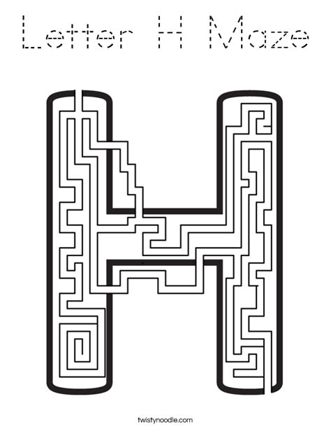 H R Block Coloring Pages by Letter H Maze Coloring Page Tracing Twisty Noodle