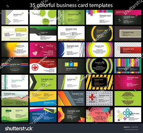 colorful business card template 35 colorful business card template stock vector 119457655