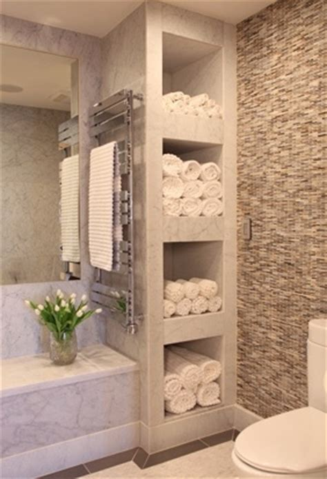 bathroom with shelves for towels feels like a spa