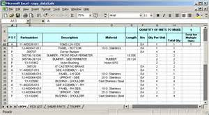 Bill Of Materials Spreadsheet Template by Ms Excel 2003 Copy Data To Various Sheets Based On The