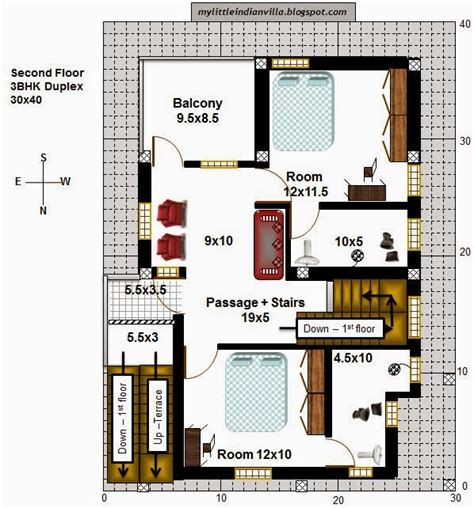 floor plan for 30x40 site my little indian villa 40 r33 1bhk and 3bhk in 30x40 north facing requested plan
