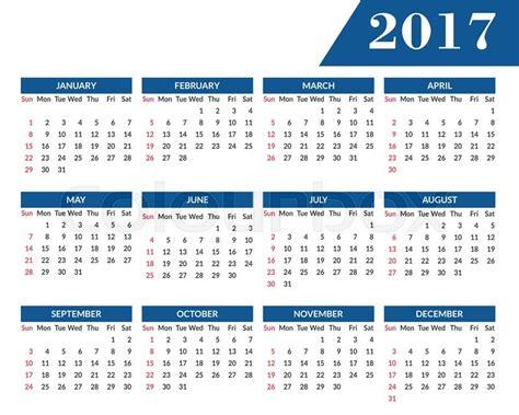 Simple 2017 Year Calendar Clean Modern Flat Style