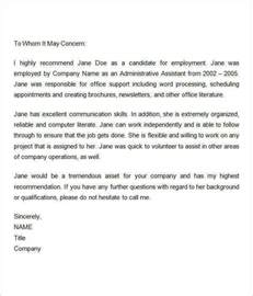 Reference Letter For Time Employee Sle Recommendation Letters For Employment 12