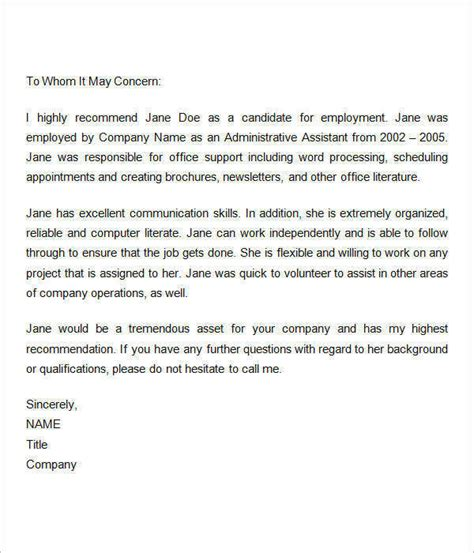 Recommendation Letter Exle Employee Sle Recommendation Letters For Employment 12 Documents In Word