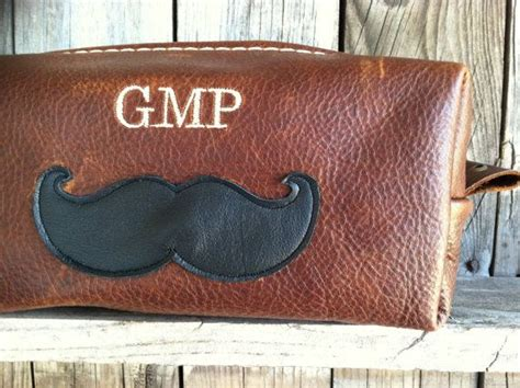 Handmade Groomsmen Gifts - handmade s leather mustache toiletry dopp kit