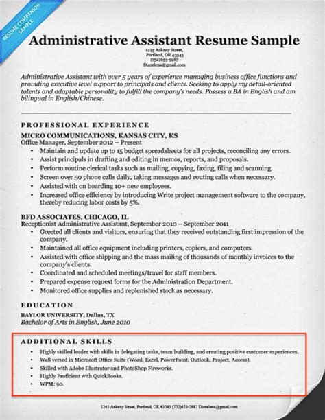 exle of a resume for a assistant 20 skills for resumes exles included resume companion