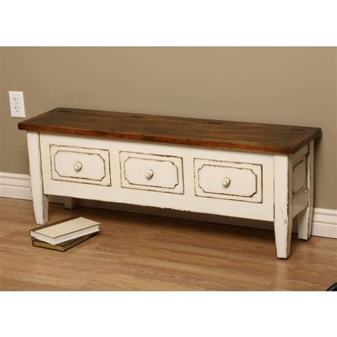 white wooden benches antique white spartan wooden bench with three drawers