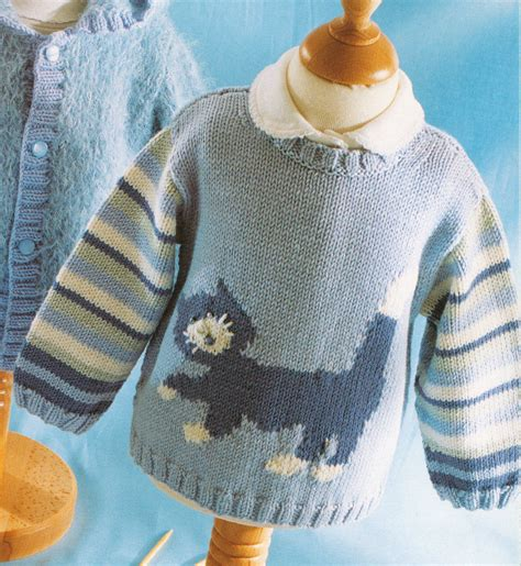 knitting pattern jumper for cat baby children cat motif sweater 0 4 years dk knitting