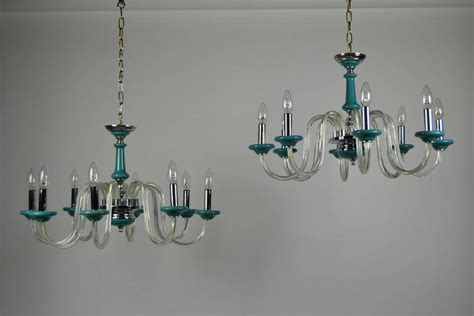 Turquoise Glass Chandelier Pair Of Vintage Turquoise Murano Glass Chandeliers For Sale At 1stdibs