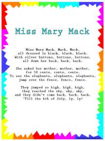 books rhymes songs silly songs mary mack