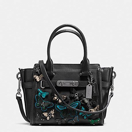Coach Mini F59810 Black Butterfly coach f37912 coach swagger 21 carryall with butterfly applique in glovetanned leather