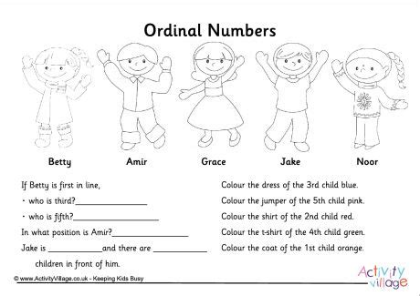 printable ordinal numbers worksheets image gallery ordinal numbers worksheets