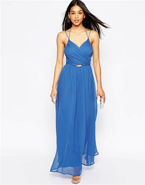 Helen Halter Neck Dress lyst asos halter neck maxi dress with cut out side in black