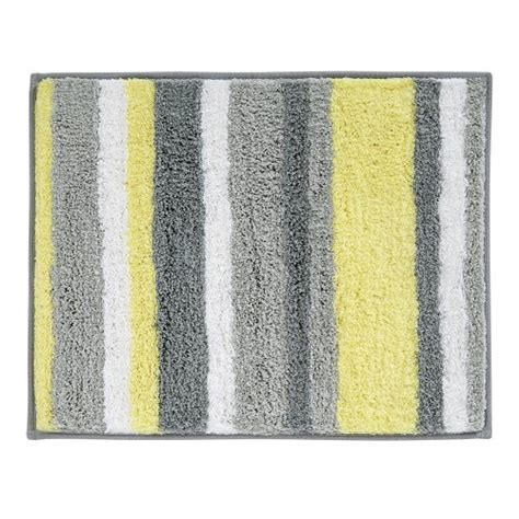 yellow and grey bathroom rugs interdesign microfiber stripz bathroom shower accent rug