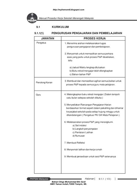 membuat struktur organisasi manual manual prosedur kerja sekolah menengah