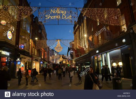 christmas lights in grafton street dublin ireland nov