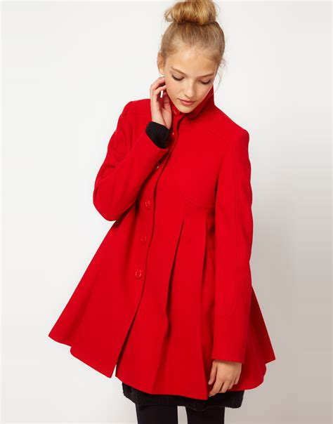 womens swing coats lyst asos collection asos pleat swing front coat in red