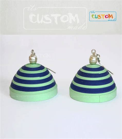 Jhumkas With Paper - buy blue green paper jhumka