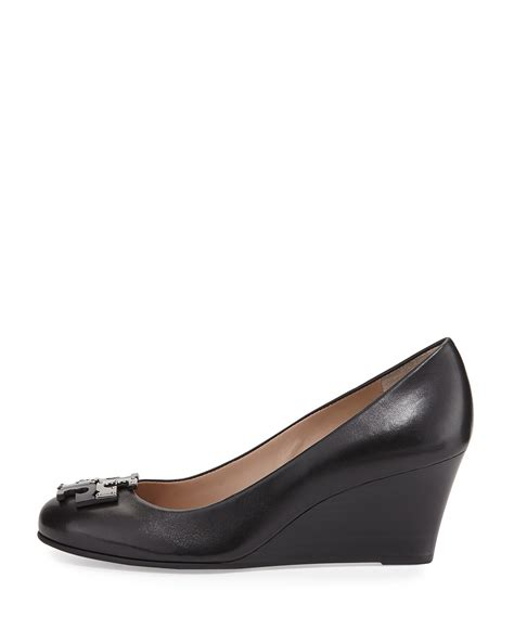 Burch Shoes Lowell Wedge burch lowell leather wedge in black lyst