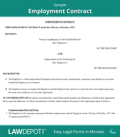 Contract Letter Agreement Employer To Employee Employment Contract Template Us Lawdepot